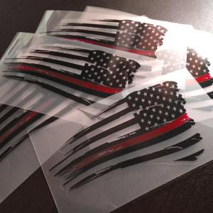 Thin Red Line Distressed Flag Vector: Thin Red Line American Flag Decal