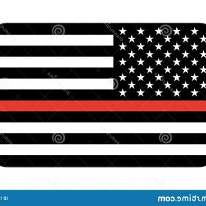 Thin Red Line Distressed Flag Vector: Black White American Flag Grunge Usa