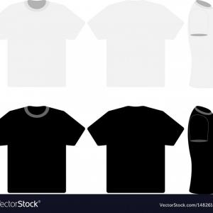 Dress Long Sleeve Shirt Vector Template: Three Black And White T Shirts Vector
