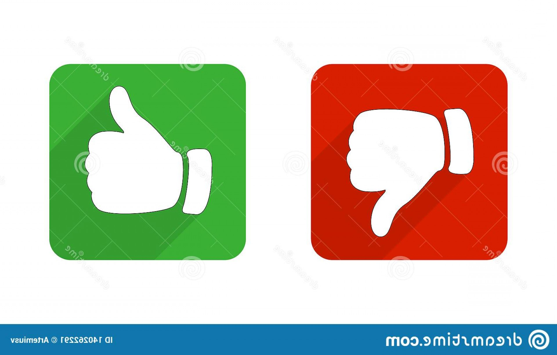 Vector Thumbs Up Down: Thumb Up Down Red Green Icons Vector Illustration I Like Do Not Square Buttons Flat Design Image