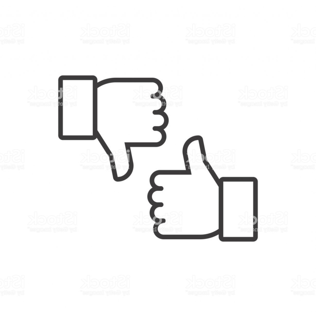 Vector Thumbs Up Down: Thumbs Up And Thumbs Down Vector Line Icons Gm