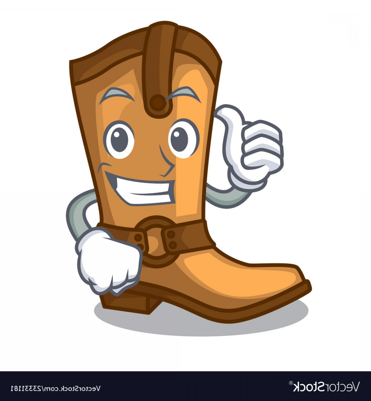 Two Cowgirl Boots Vector: Thumbs Up Cowboy Boots Isolated In The Mascot Vector