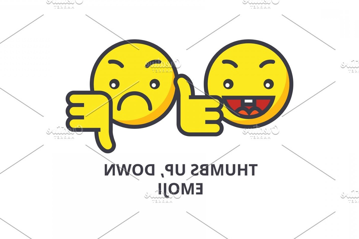Vector Thumbs Up Down: Thumbs Up Down Emoji Vector Line Icon Sign Illustration On Background Editable Strokes