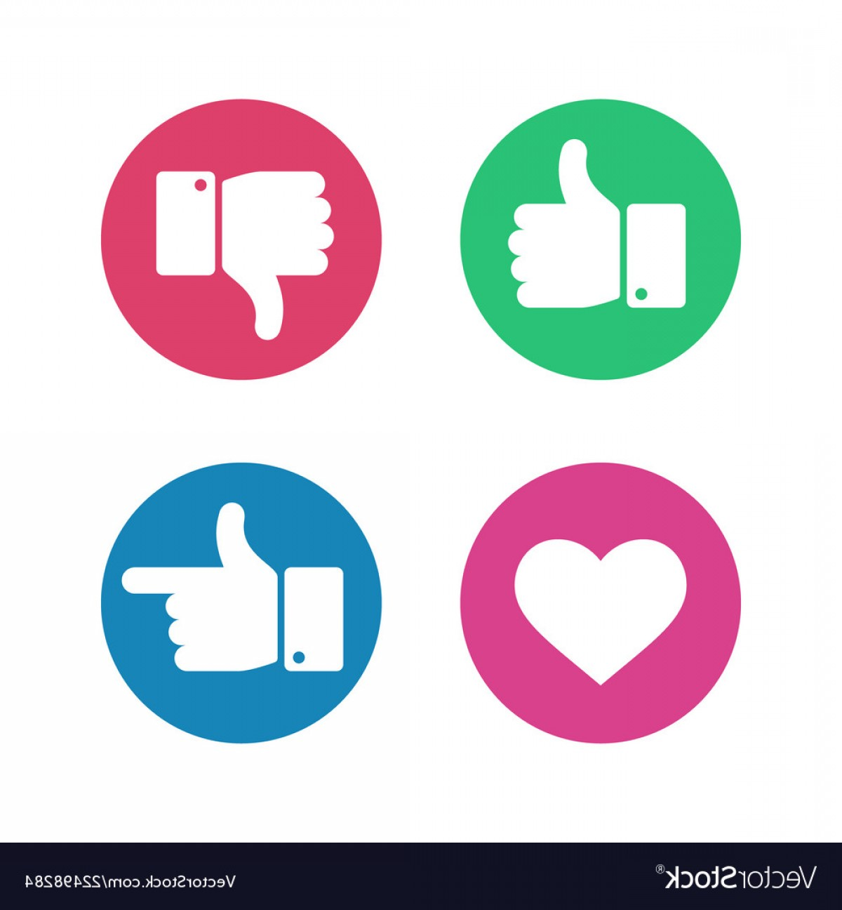 Vector Thumbs Up Down: Thumbs Up Down Sign Point Finger And Heart Icons Vector