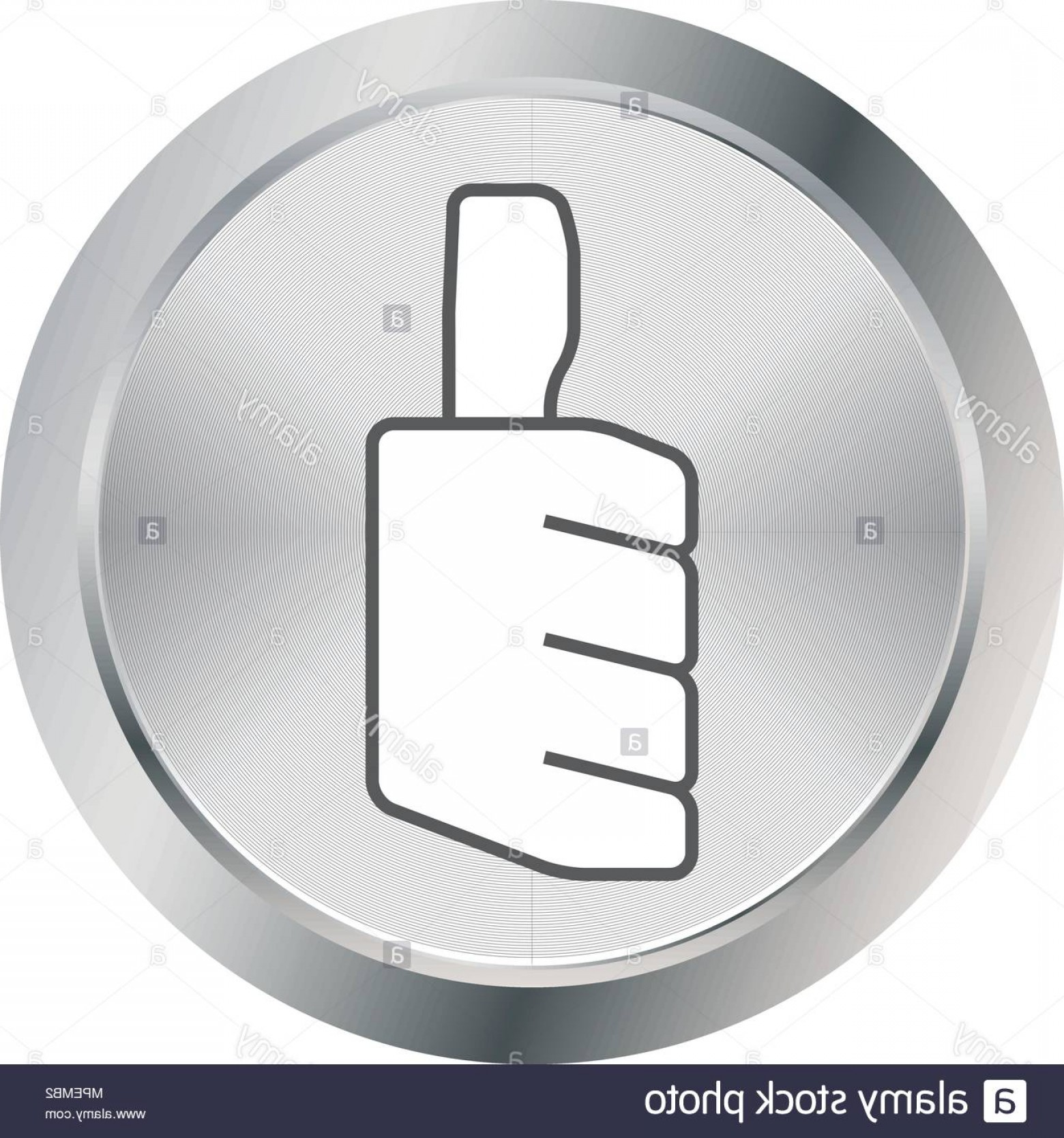 Metal Button Vector: Thumbs Up Icon Metal Button Vector Illustration Image