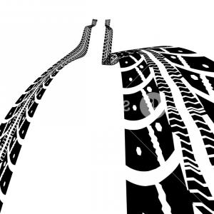 Tire Tread Vector Graphics: Tire Tracks Vector Illustration On White Background Slzardnbvjsboped