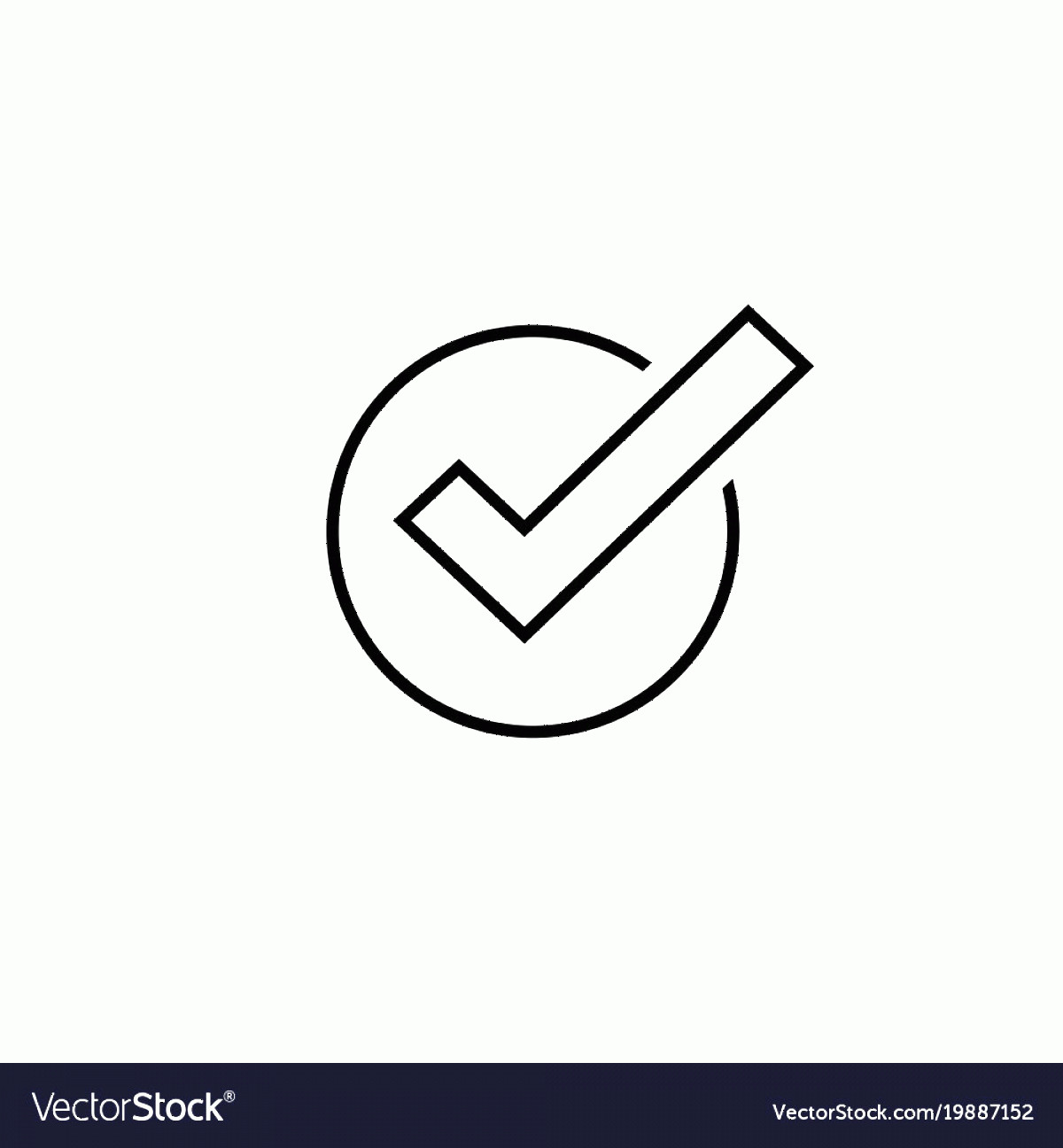 Symbol Vector Clip Art: Tick Icon Symbol Line Art Outline Vector