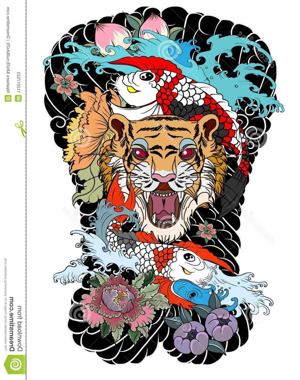 Full Body Tiger Roaring Vector: Tiger Face Koi Dragon Cloud Background Fish Roaring Tattoo Peach Peony Plum Flower Traditional Japanese Design Image