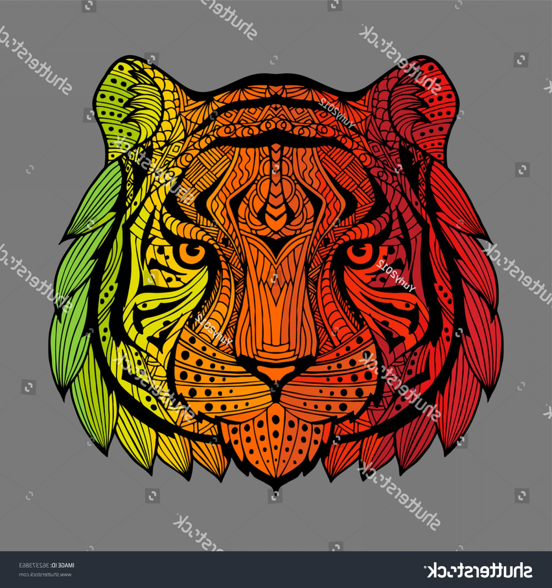 Green Tiger Vector: Tiger Head Series Ethnic Animals Patterned
