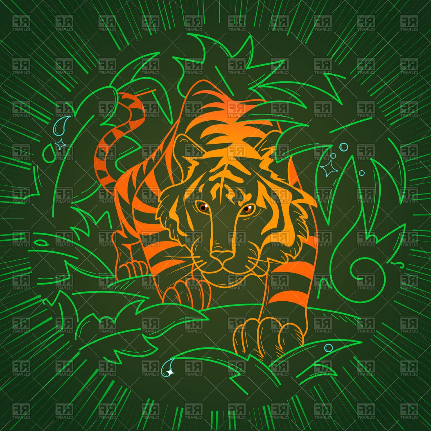 Green Tiger Vector: Tiger Icon In Jungle In Linear Style Vector Clipart