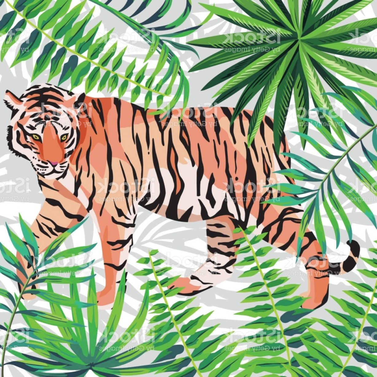 Green Tiger Vector: Tiger On The Tropical Jungle White Background Gm