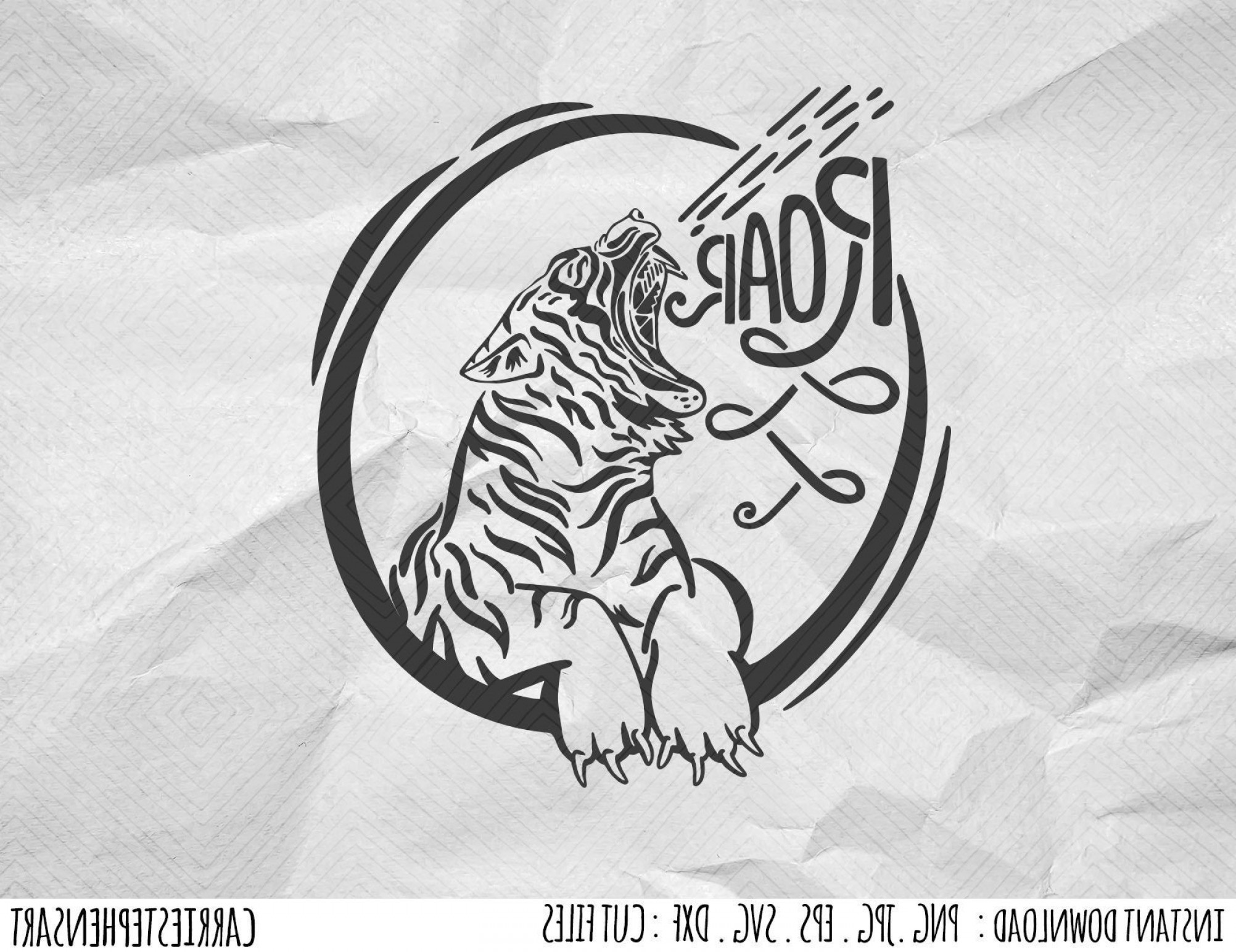 Full Body Tiger Roaring Vector: Tiger Roar Svg Silhouette Cut File