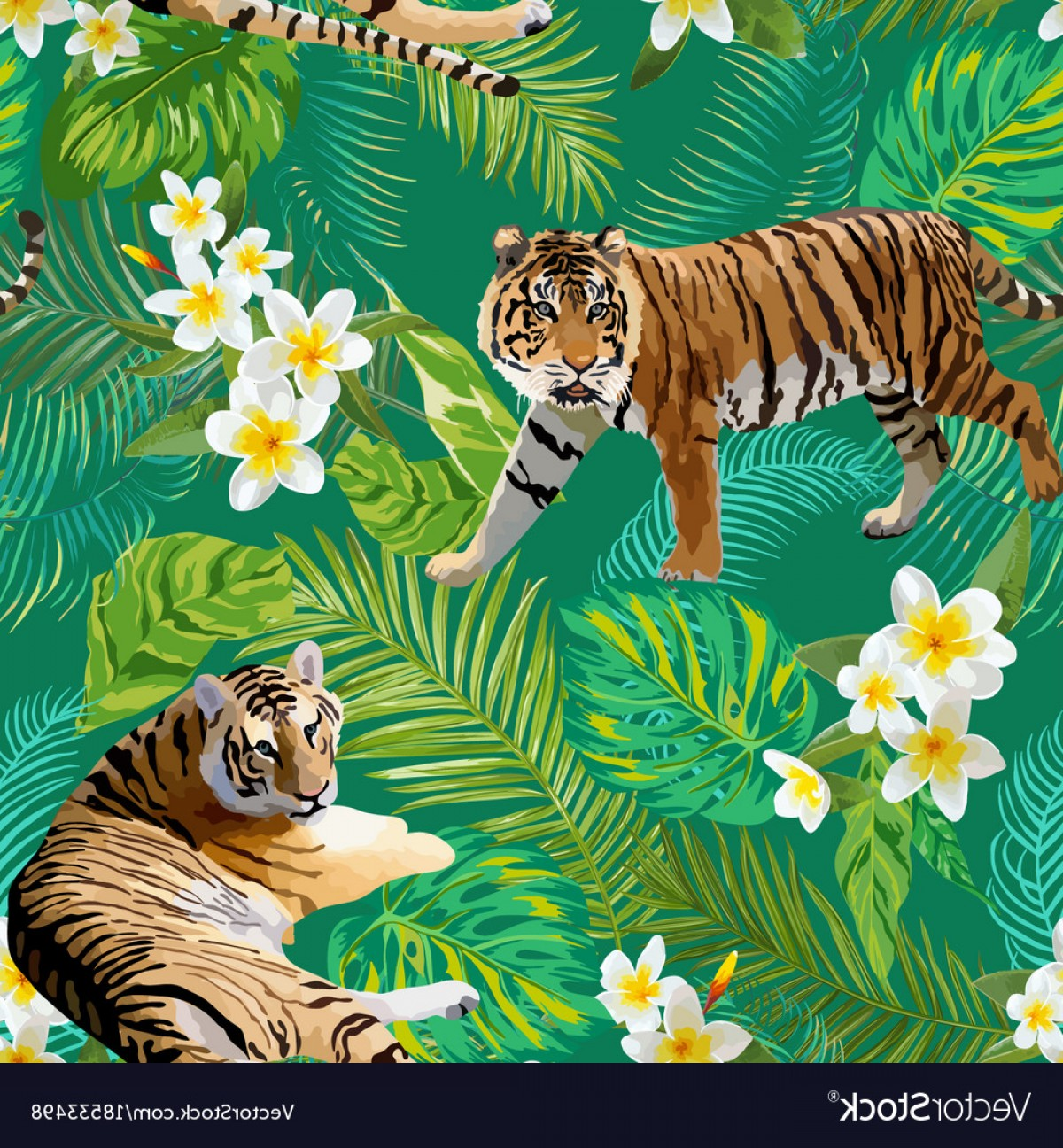 Green Tiger Vector: Tigers Flowers And Palm Leaves Background Vector