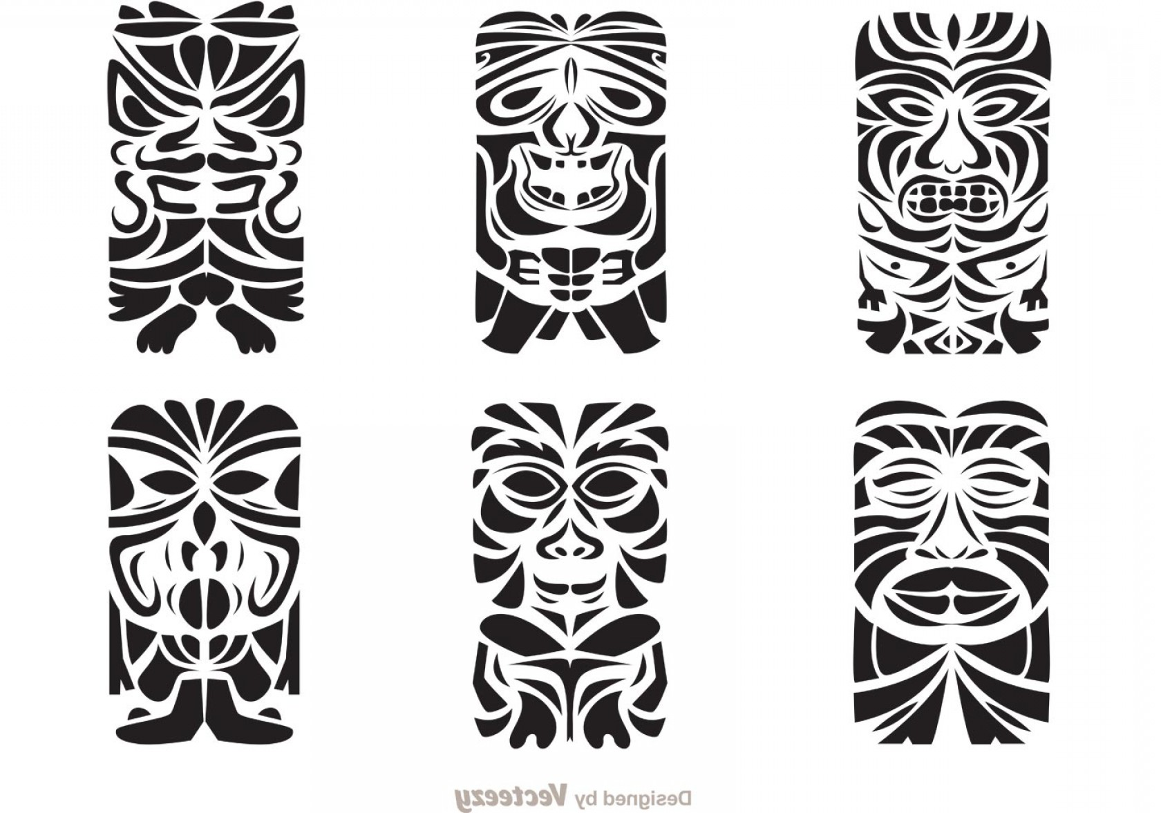 Vector Black Tribal: Tiki Totem Hawaiian Tribal Vectors
