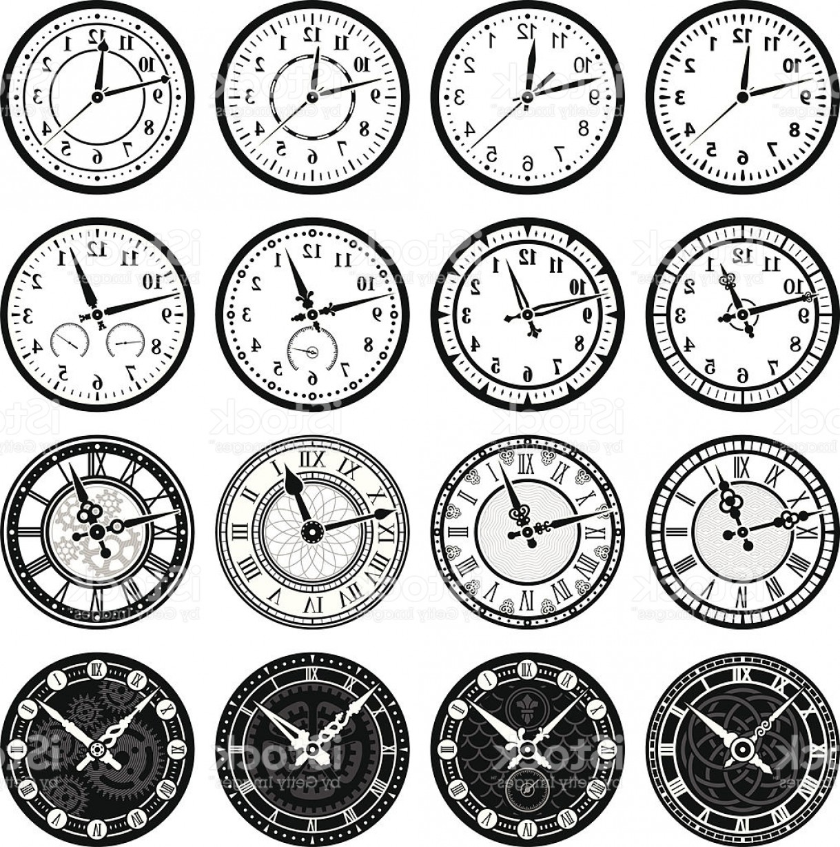 Old Floor Clock Vector: Time Clock And Watch Royalty Free Vector Icon Set Gm