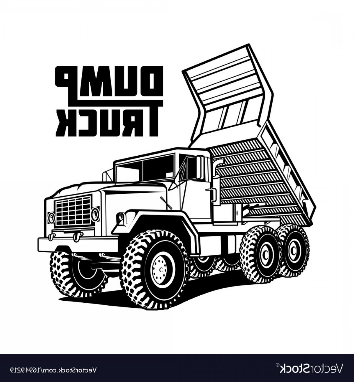 Dump Truck Vector Black And White: Tipper Truck Isolated On White Vector
