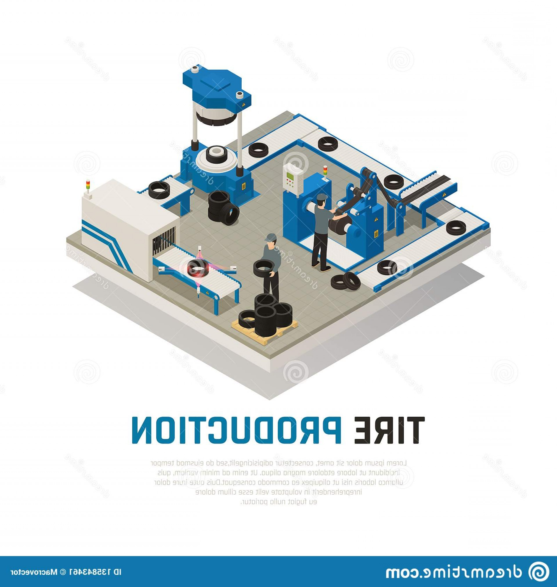 Vector Manufacturing Machine: Tire Production Isometric Composition Tire Production Isometric Composition Industrial Equipment Manufacturing Image