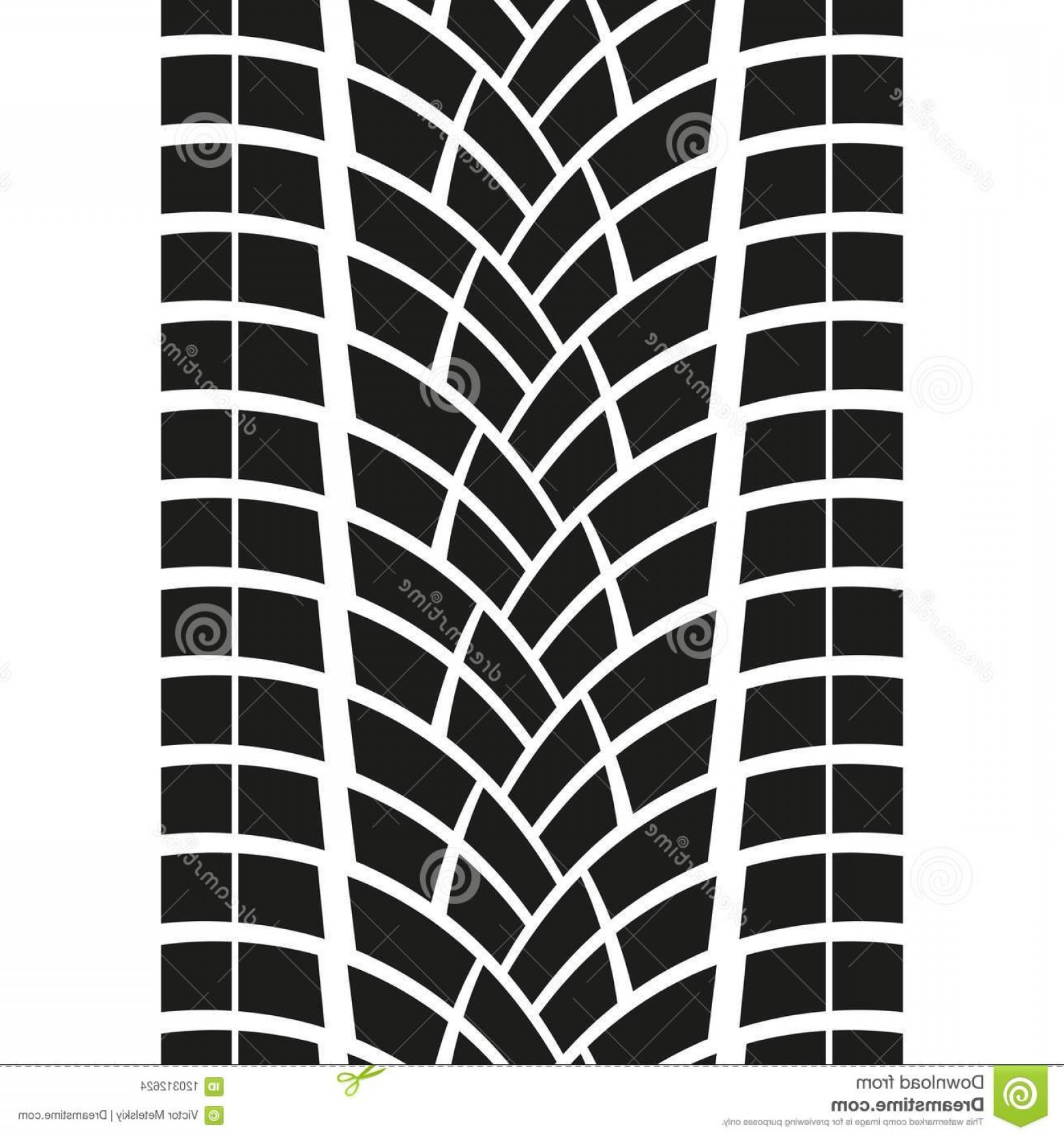 Track Vector: Tire Track Isolated White Background Tyre Print Vector Illustration Image