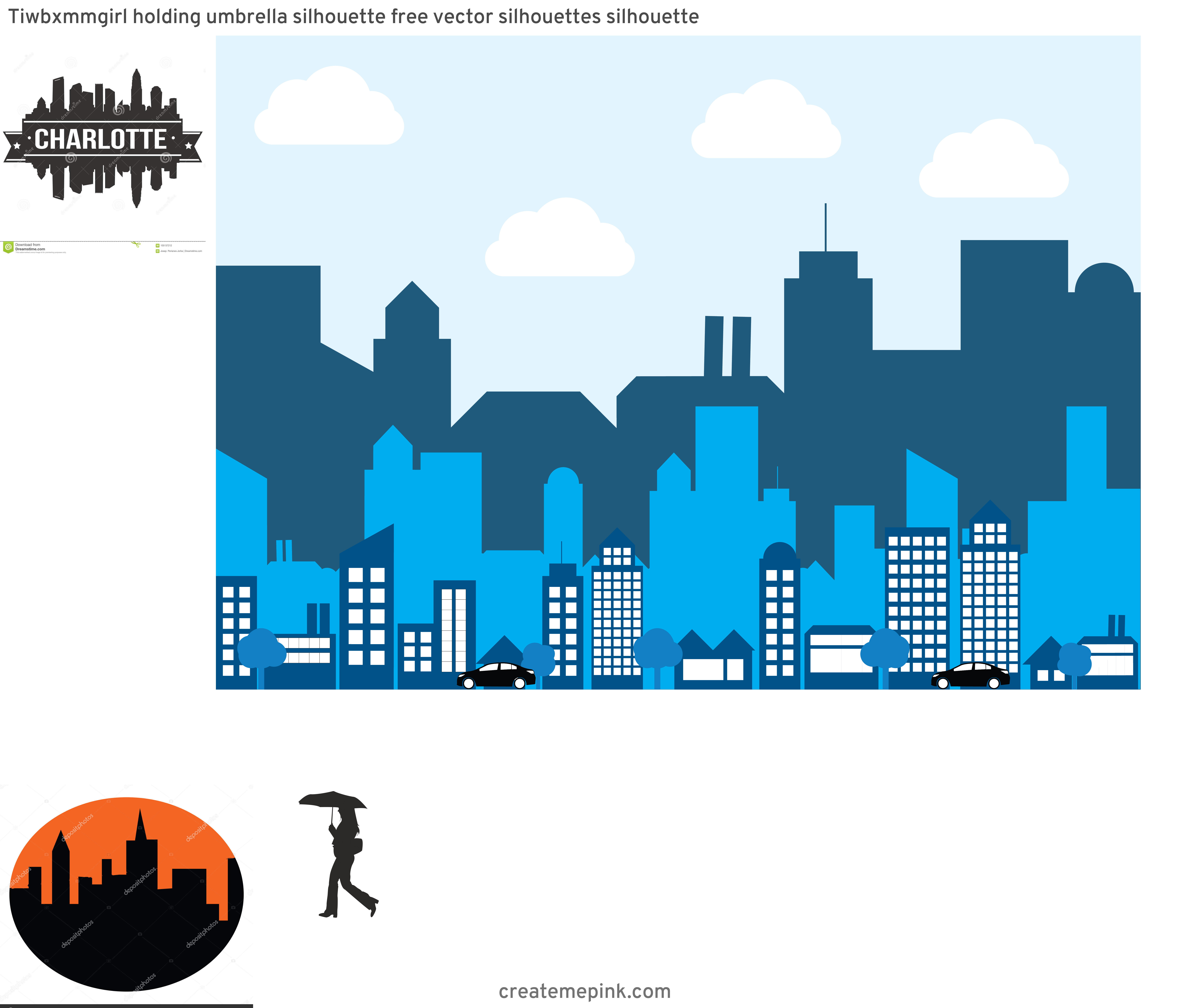 Charlotte Skyline Vector Circle: Tiwbxmmgirl Holding Umbrella Silhouette Free Vector Silhouettes Silhouette