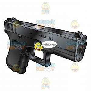 Glock Down Vector Art: Top And Front Side Barrel View Of A Glock Semi Automatic Short Recoil Pistol