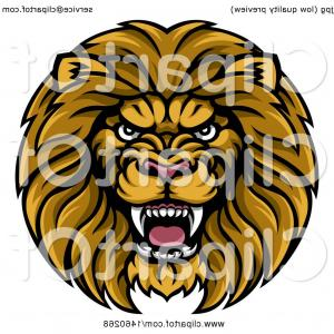 Malee Cat Head Silhouette Vector: Cartoon Angry Male Lion In A Yellow White And Gray Shield