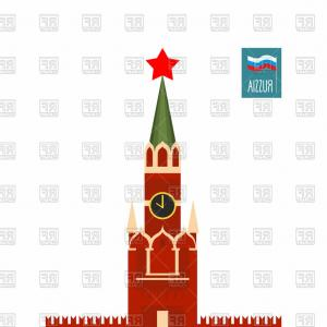 Vector Russian Palace: Tower Of Moscow Kremlin Russia Vector Clipart
