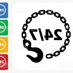 Tow Chain Vector: Rusty Chain Ring Emblem Logo Vector