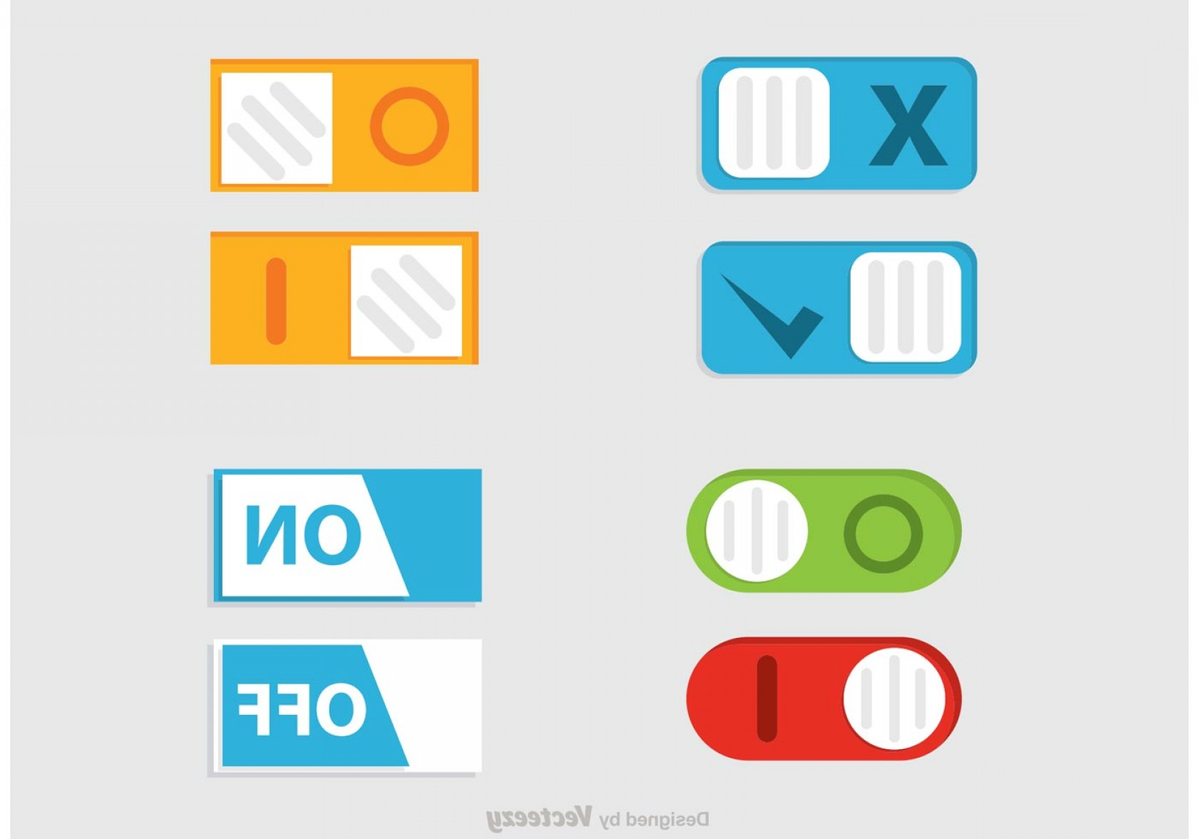 Buttons Vector Art: Toggle On Off Button Vector