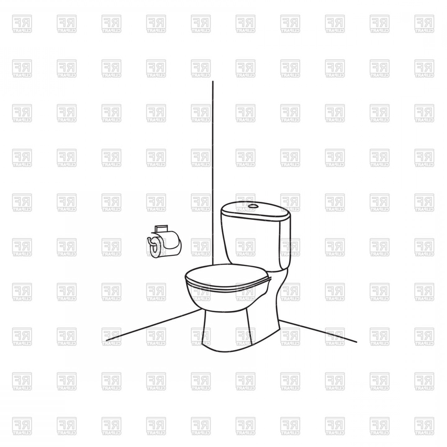Toilet Paper Vector: Toilet Room Furniture With Toilet Bowl And Toilet Paper Vector Clipart