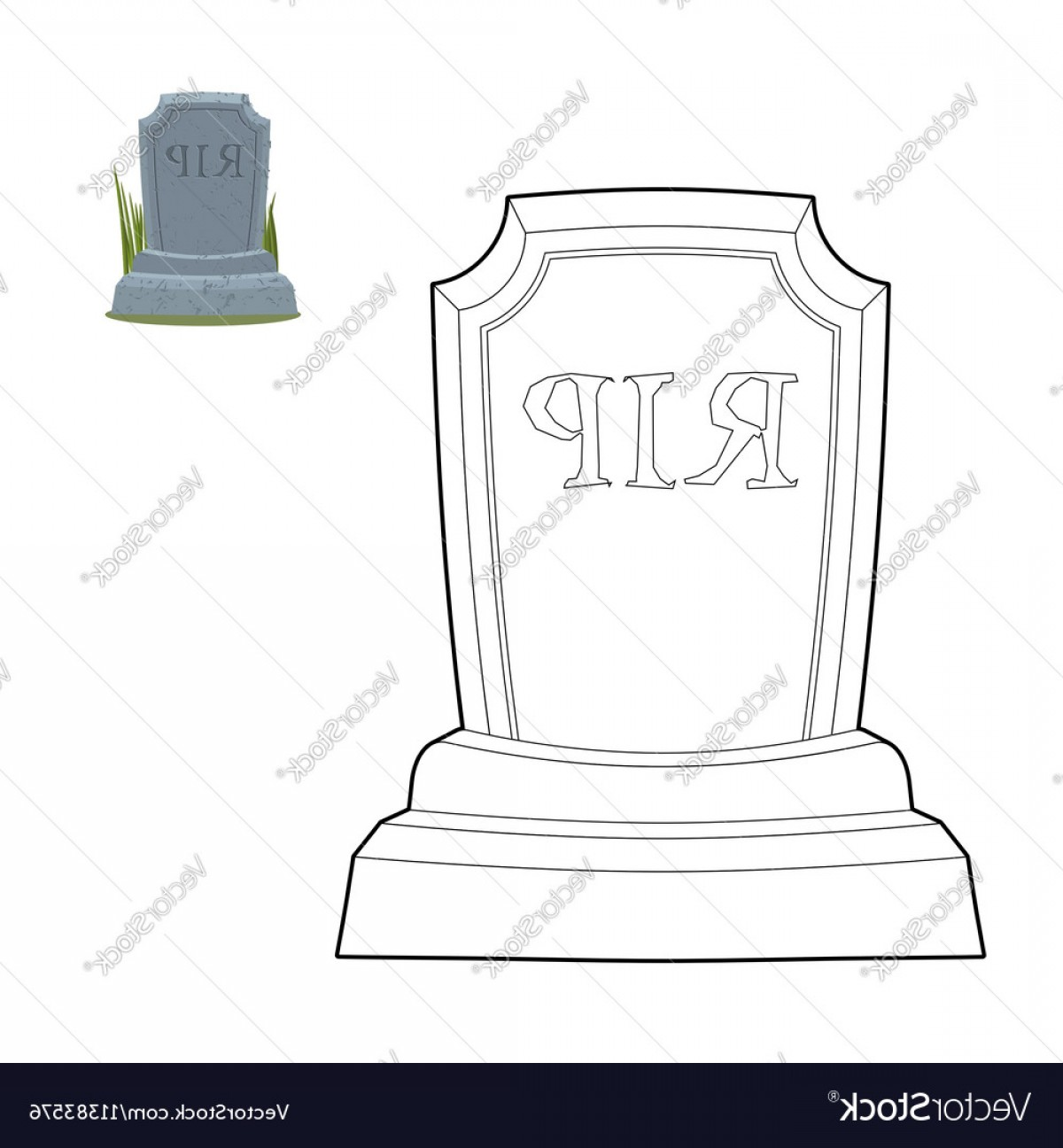 Gravestone Outline Vector: Tomb Coloring Book Old Gravestone In Linear Style Vector