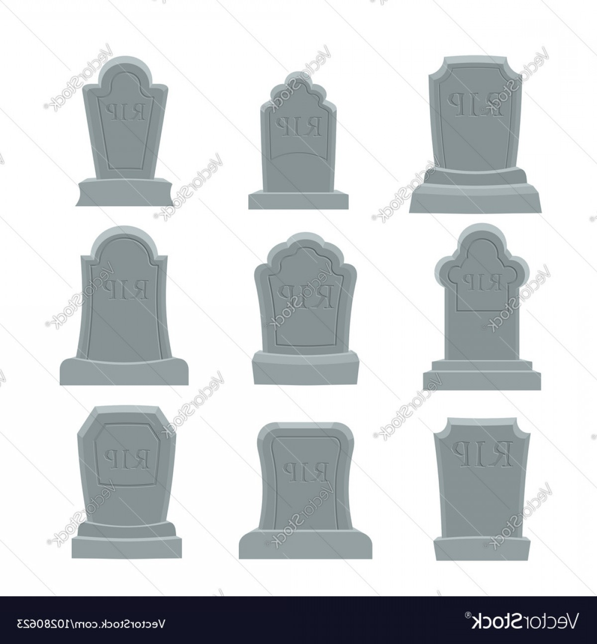 Gravestone Outline Vector: Tomb Set Ancient Rip Collection Of Gravestones Vector