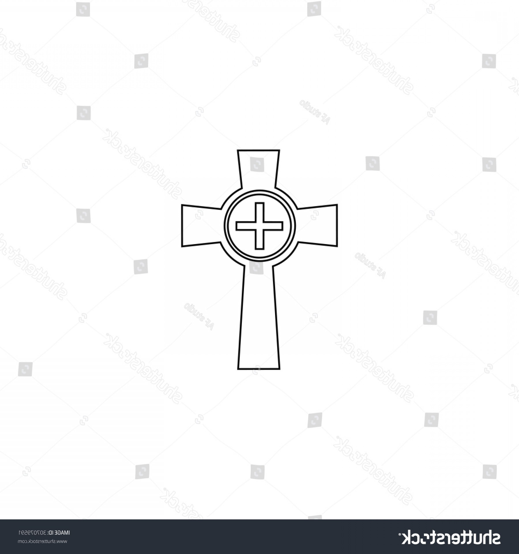 Gravestone Outline Vector: Tombstone Cross Gravestone Outline Black Simple