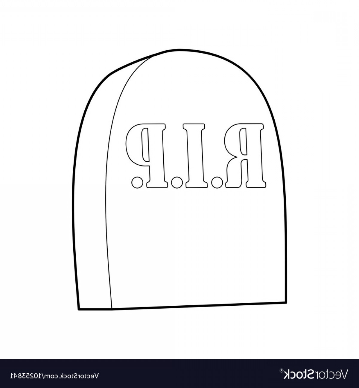 Gravestone Outline Vector: Tombstone With Rip Icon Outline Style Vector