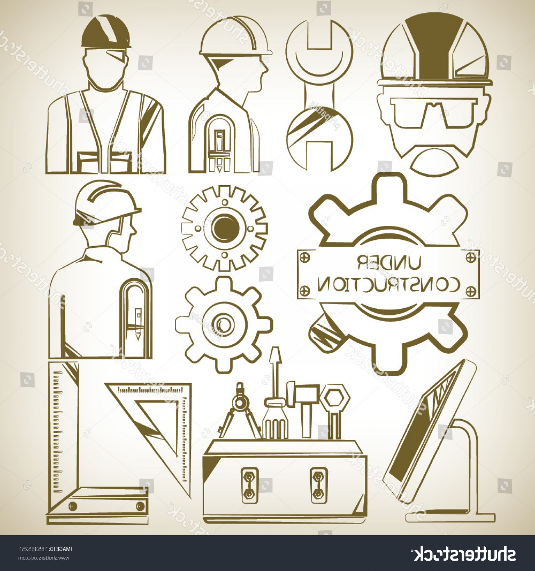 Vector Graphic Of Civil Engineering: Tools Civil Engineering Icons Set