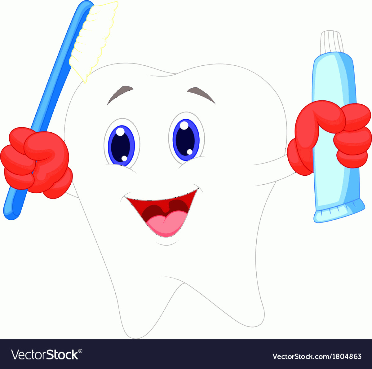 Toothpaste Cartoon Vector: Tooth Cartoon Holding Toothbrush And Toothpaste Vector