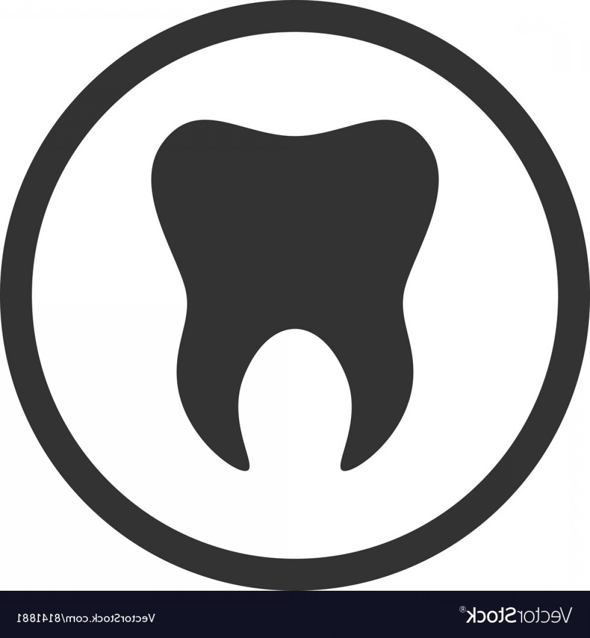 Tooth Outline Vector: Tooth Icon Logo Template Of Tooth Dental Symbol Vector