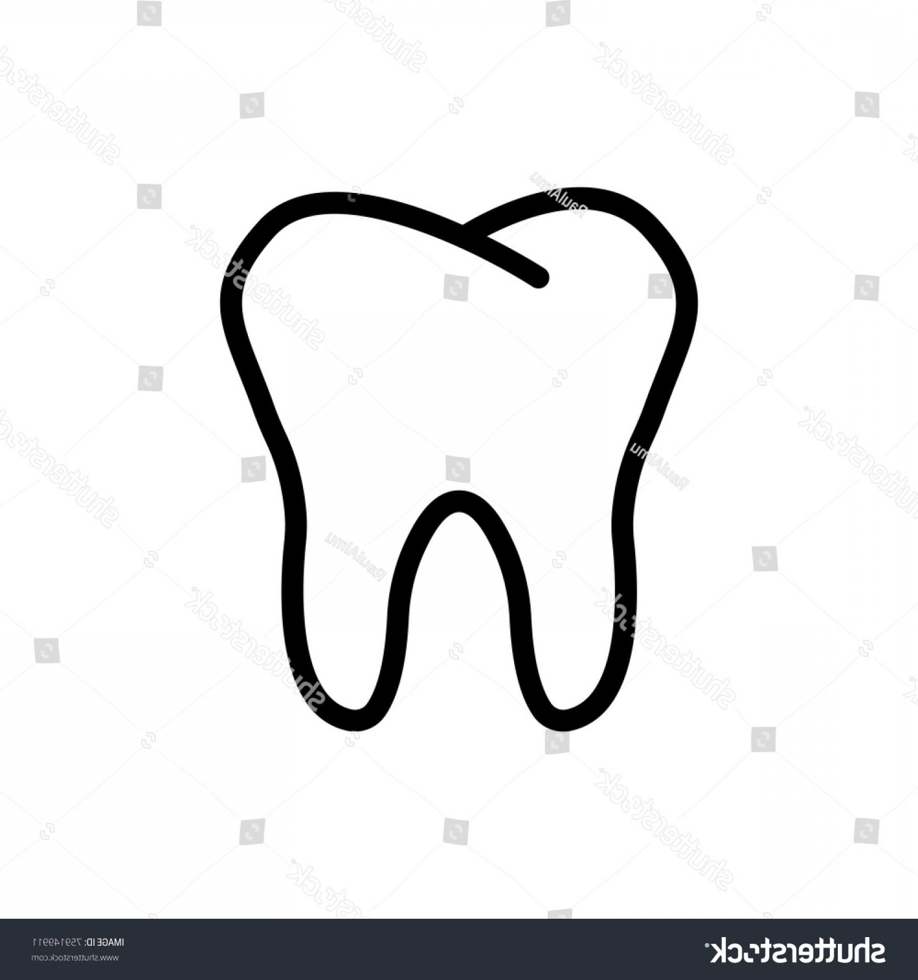 Tooth Outline Vector: Tooth Line Icon High Quality Black