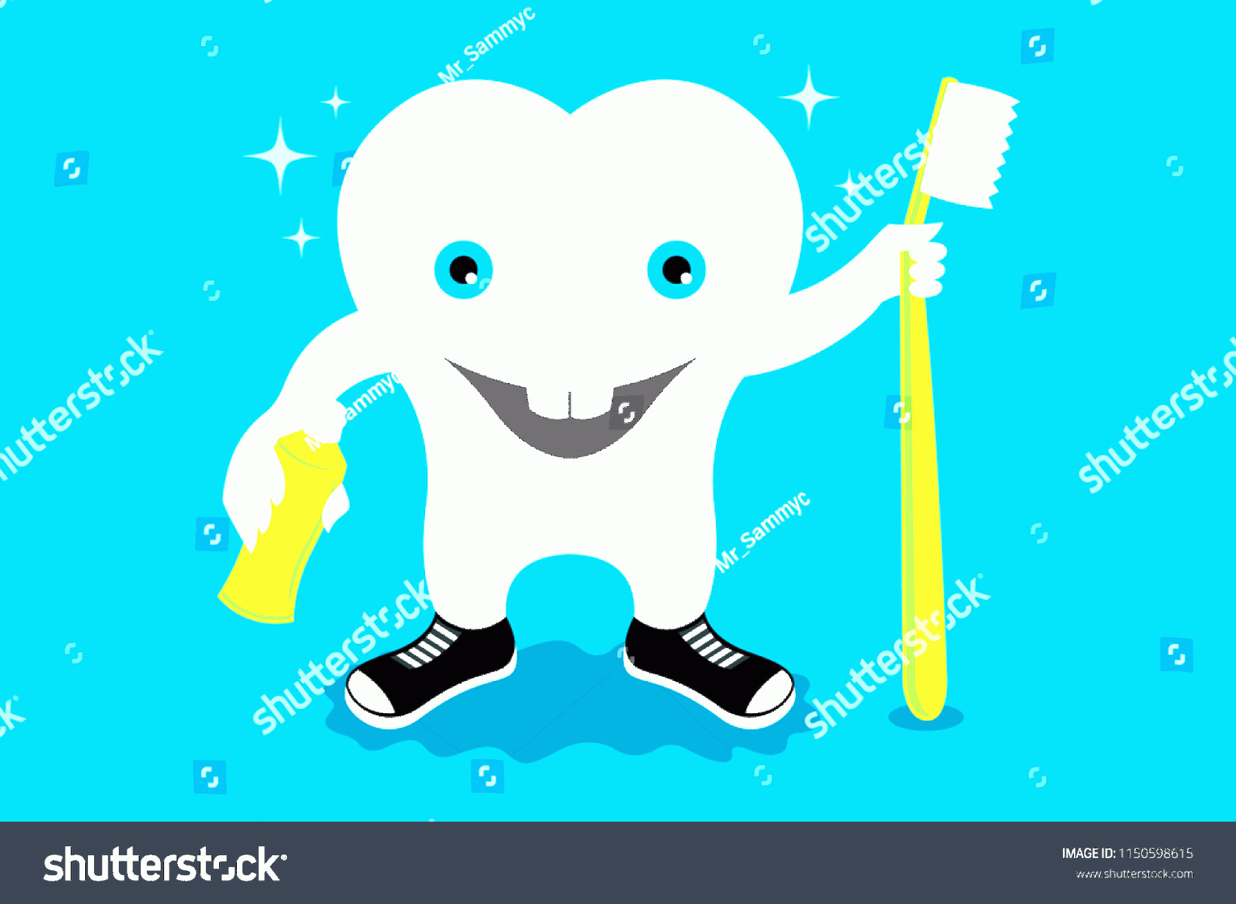 Toothpaste Cartoon Vector: Tooth Toothbrush Toothpaste Cartoon Vector Illustration