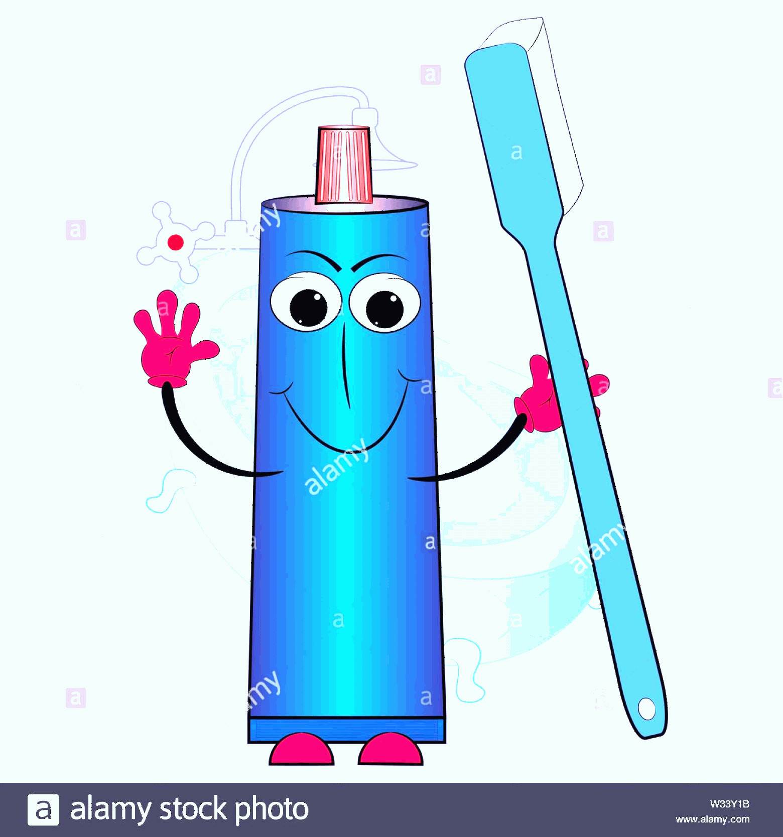 Toothpaste Cartoon Vector: Toothpaste And Toothbrush Cartoon Vector Illustration Image