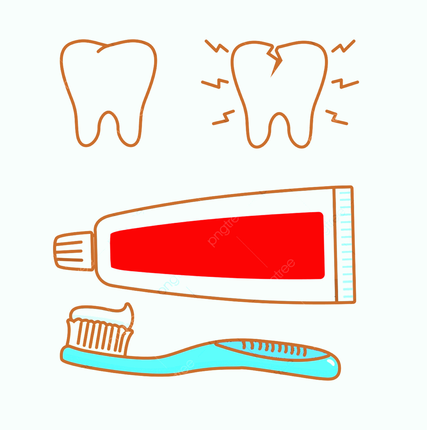Toothpaste Cartoon Vector: Toothpaste And Toothbrush Vector Illustration With Cute Design