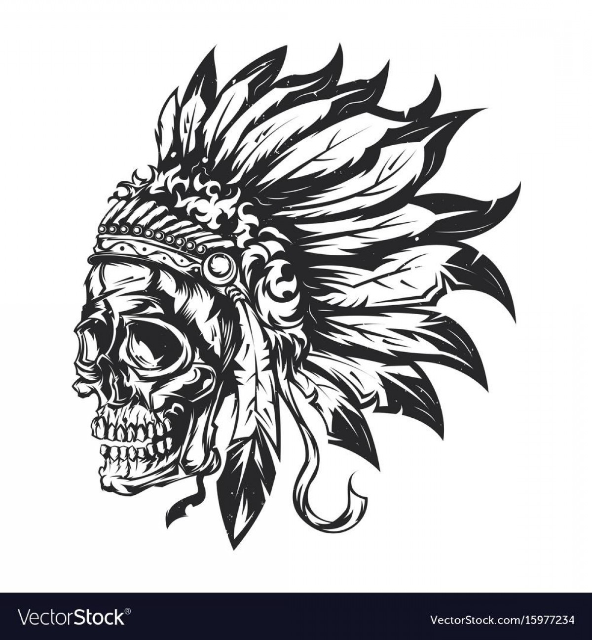 American Indian Chief Vector: Top American Indian Chief Skull Vector Drawing