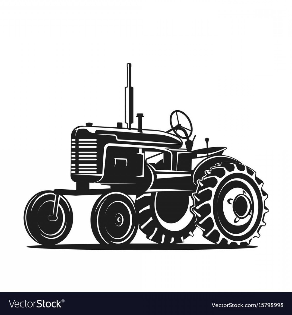 Vintage Tractor Vector Art: Top Black Old Tractor Silhouette On White Background Vector Photos