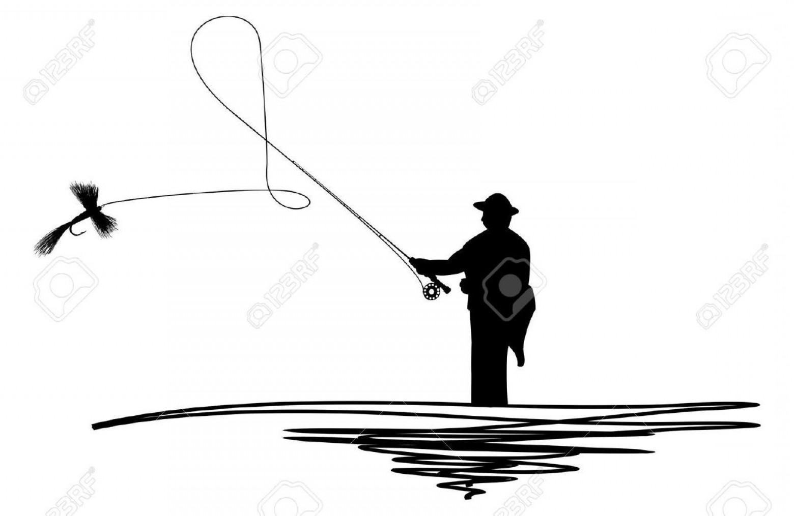 Detailed Vector Art Fly Fisherman: Top Fly Fishing Casting Silhouette Library