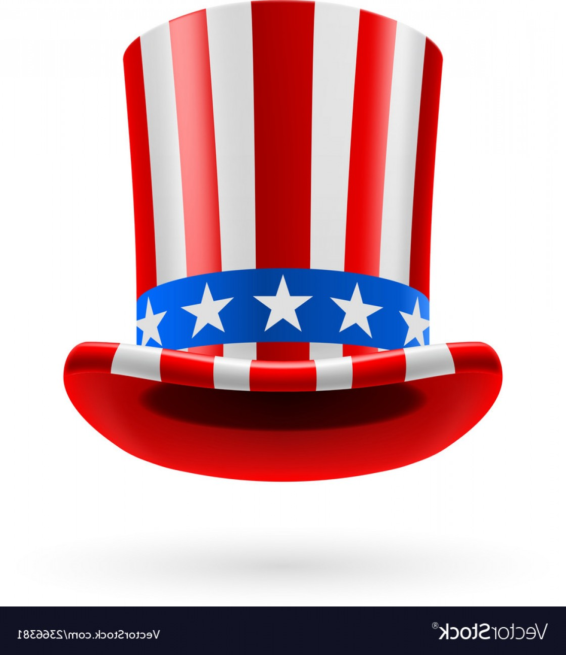 Vertical American Flag Vector: Top Hat Made Of Us Flag Vector