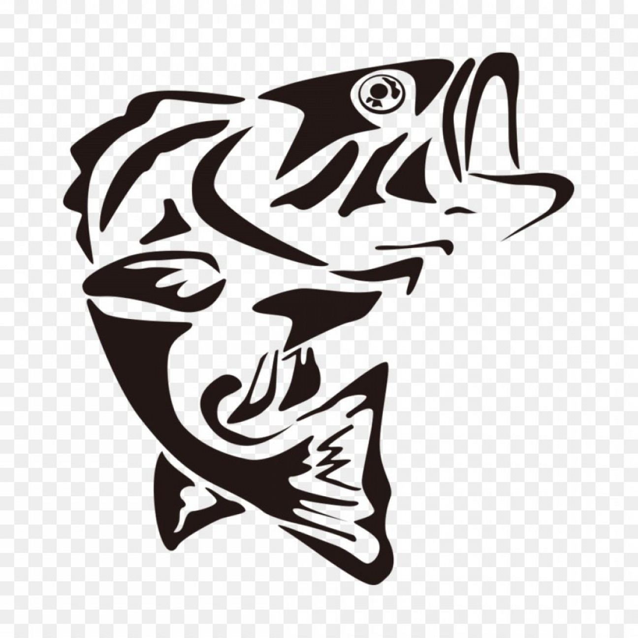 Largemouth Bass Silhouette Vector: Top Largemouth Bass Outline Vector Design