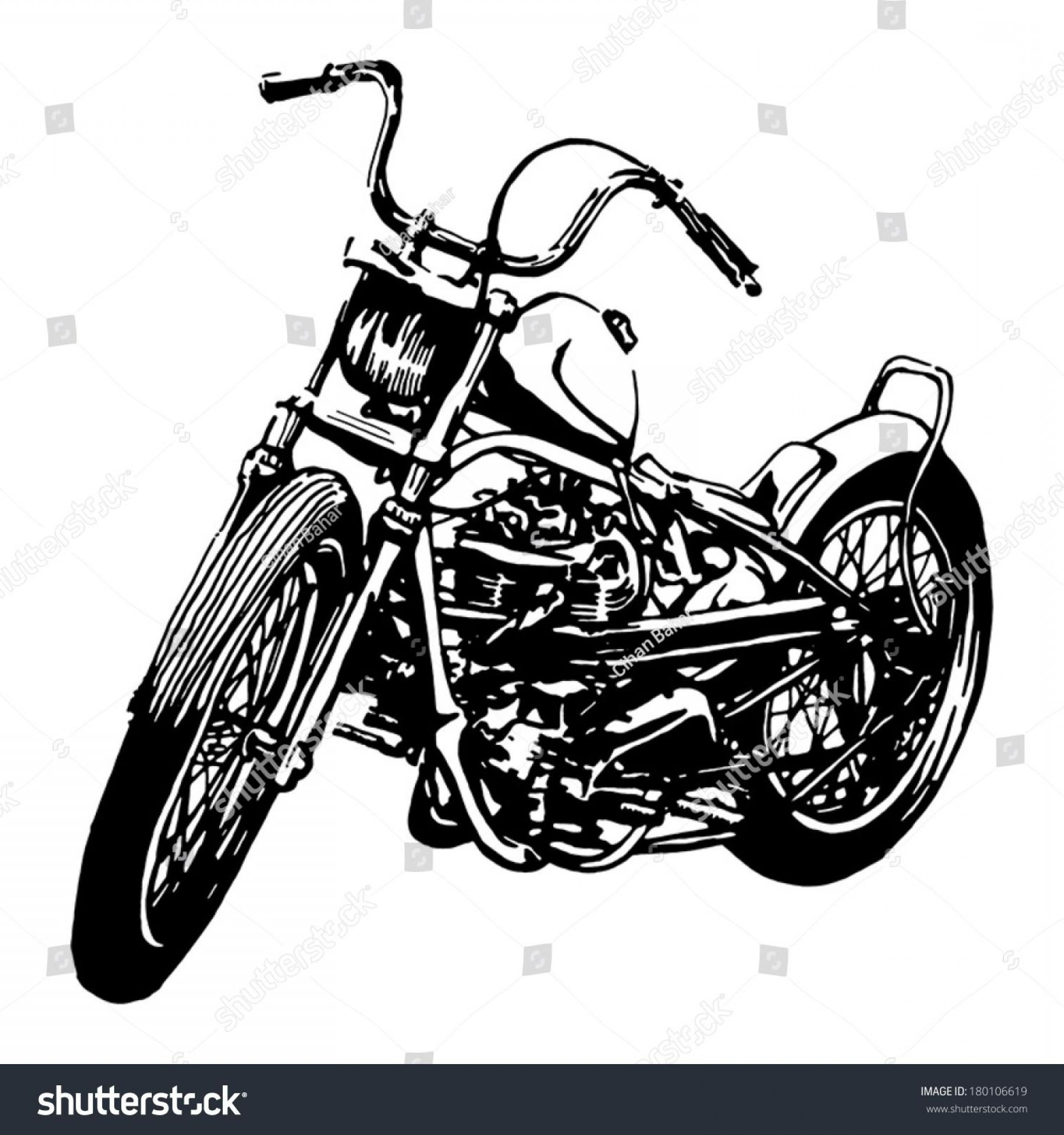 Best Tank Top Vector: Top Old Motorcycle Drawings Vector Library