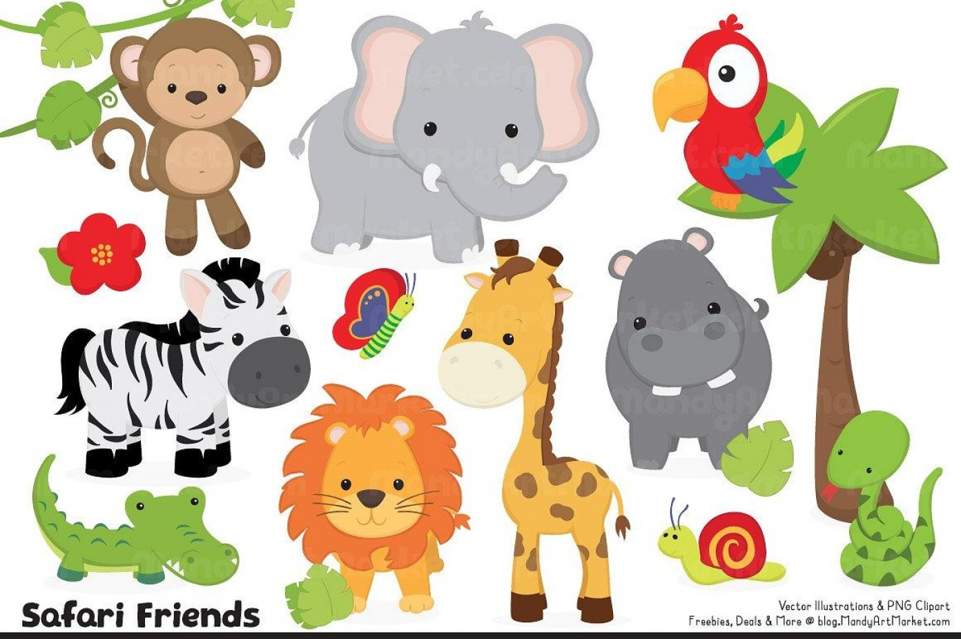 Jungle Animals Clip Art Vector: Top Printable Pictures Jungle Animals Vector Library