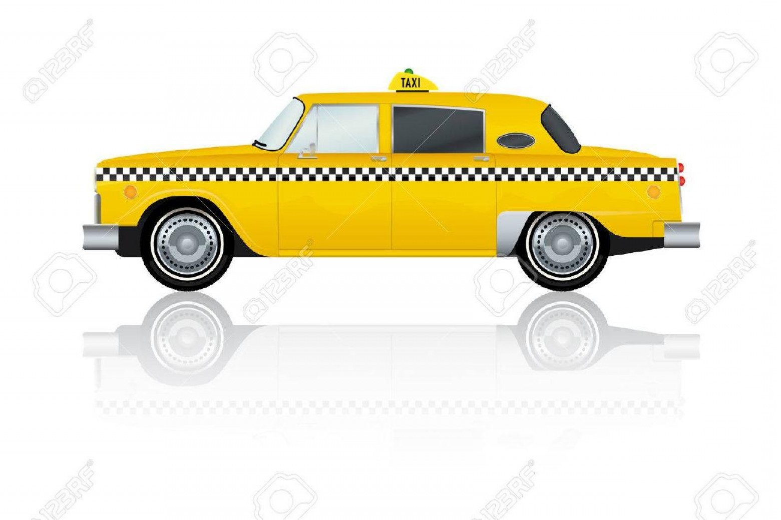 Taxi Checkers Vector: Top Vector Illustration Of Vintage Yellow New York Taxi Cab Design