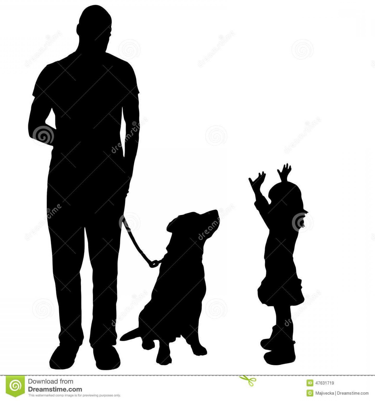 Vector Silhouette Dog Walk: Top Vector Silhouette Family Dog Walk Drawing