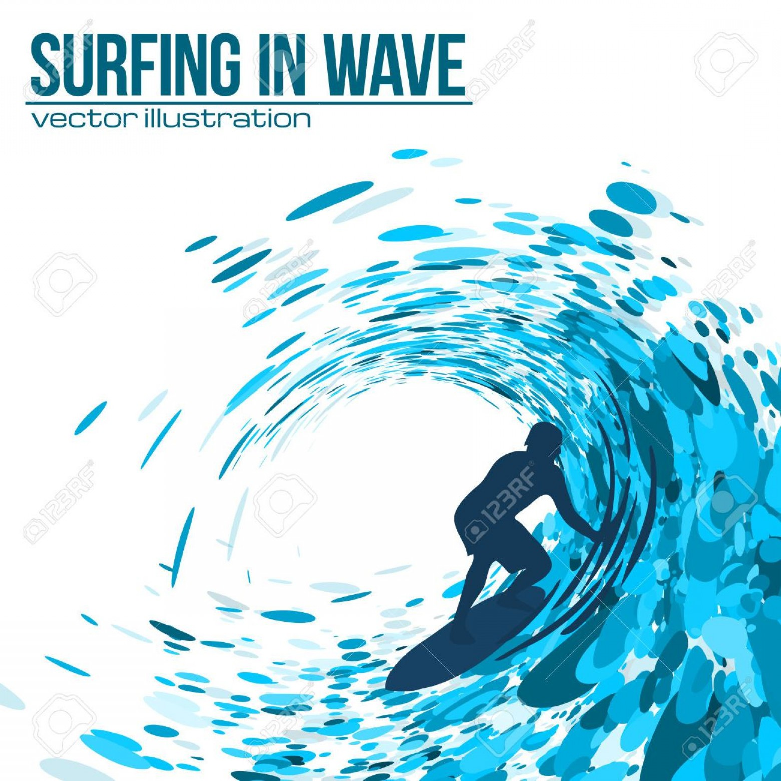 Waves With Surfer Silhouette Vector: Top Vector Surfer Silhouette In Blue Wave On White Background Stock Cdr